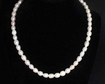 Baroque Pearl Necklace, 16 Inch Irregular Freshwater Oval