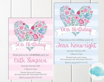Women's Personalised Birthday Invitations with Envelopes