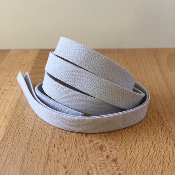 "Bias Tape in Kona Shadow Light Gray cotton 1/2"" double-fold binding- Silver grey- 3 yard roll"
