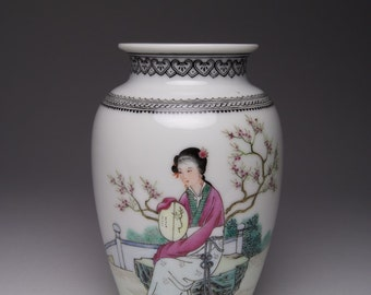 Vintage Chinese Republic Famille Rose porcelain vase.