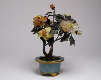 Vintage Chinese cloisonne and hardstone jade tree