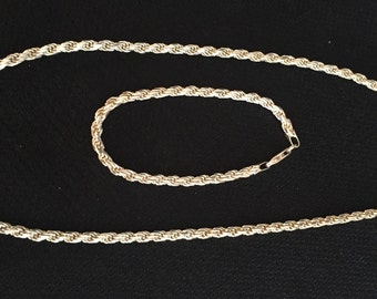 """Sale!!! Sterling 29.1 grand 925 Chain 18"""" & Matching Bracelet 7"""" 925"""