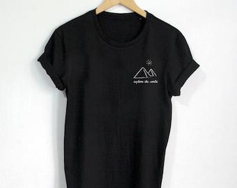 Graphic Tee, Tumblr Clothing, Adventure Shirt, Grunge Clothing, Hipster Shirt, Pocket Tee, Womens shirt, Womens Clothing, Modern Clothing