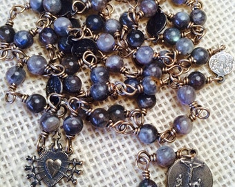 Seven Sorrows of Mary Chaplet, Bronze wire wrap, Grey Labradorite 6mm, catholic christian jewelry