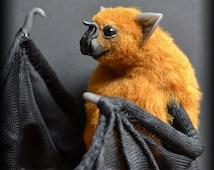 Vampire bat brown, Soft Sculpture, Handmade OOAK toy, stuffed bat, Art Doll, Animal sculpture, Textile Taxidermy