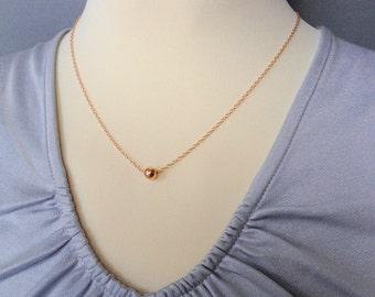 Rose Gold Hammered Ball Necklace - Delicate Gold Necklace Gold • Delicate Layering Necklace - Layer Necklace Delicate Gold /Rose Gold LP109_