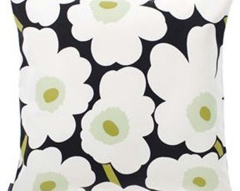 Handmade Marimekko Pieni Unikko white black pillow case, many sizes, Finland