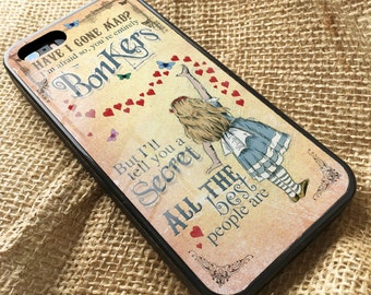Alice in Wonderland iPhone Rubber Case Cover Alice Bonkers Hearts