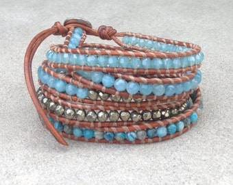 Turquoise Blue Wrap Bracelet on Natural Brown Leather