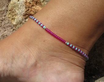 Pink beaded Anklet, Mint Green Minimalist  Ankle bracelet, Silver Beach Anklet, Beadwork Jewellery,