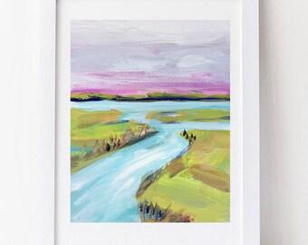 Abstract Marsh Print on Paper, print of original art