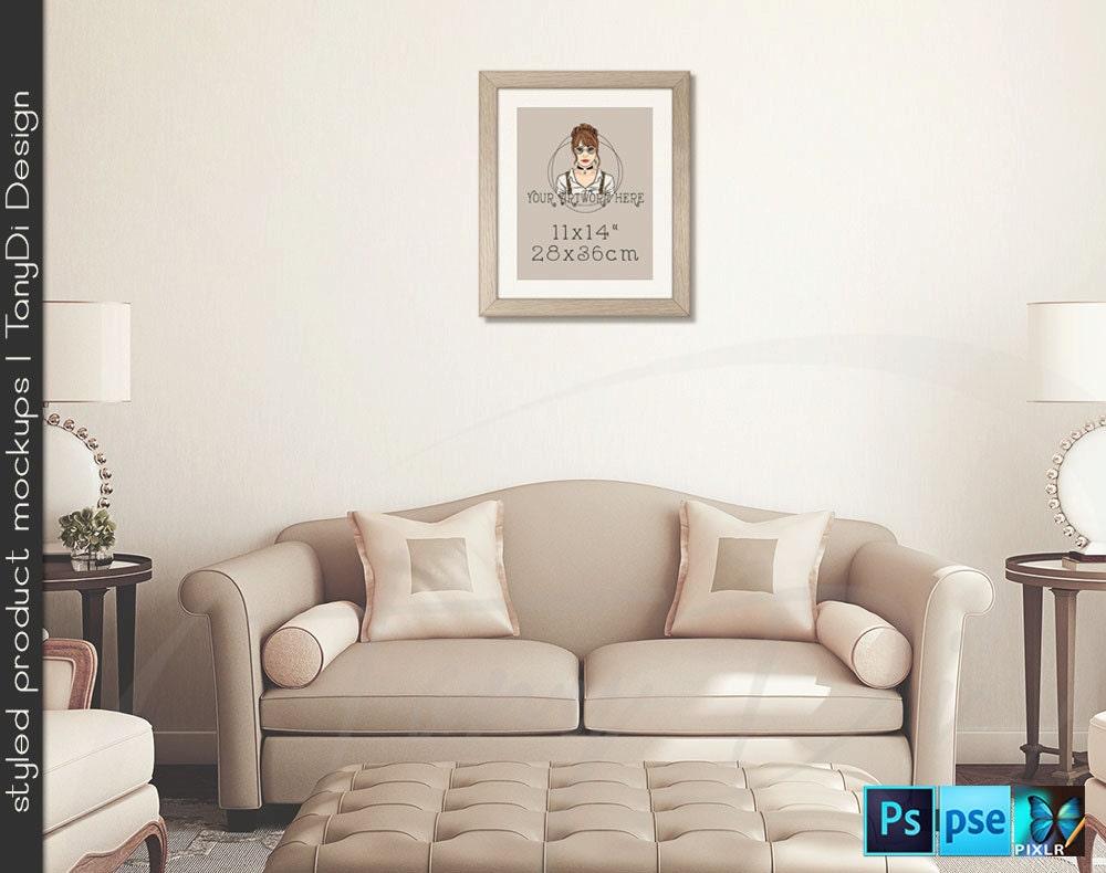 Living Room 2 Cream Sofa Wall Interior 11x14 Light Wooden