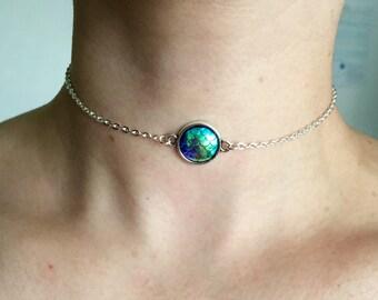 Mermaid iridescent scale chain choker