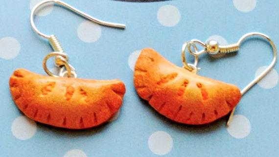 Pumpkin Pasties Earrings - Miniature Food Jewelry - Inedible Jewelry - Harry Potter Jewelry - Kid's Jewelry - Hogwarts Jewelry, Pie Jewelry
