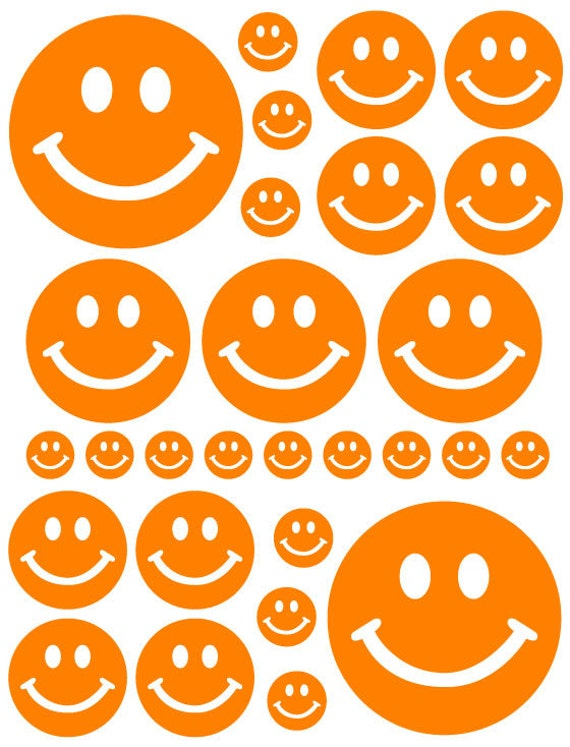 56 Orange Smiley Face Vinyl Polka Dots Bedroom Wall Decals Stickers Teen Kids Nursery Baby Dorm Room Removable Custom Made Easy to Install