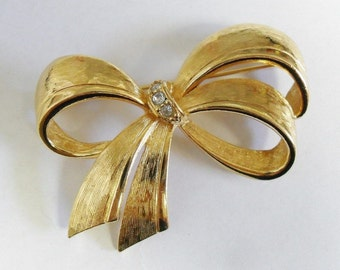 Vintage Avon Ribbon Bow Brooch Rhinestone Accents Scarf Accessory Bag Adornment