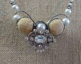 Burlap, pearl and crystal necklace