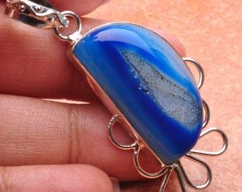 Blue Agate Druzy silver plated  pendant  ( #J635)