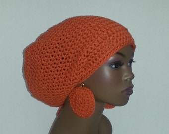 Crochet Rasta Tam with Drawstring and Earrings, Large Tam, Pumpkin Lg. Slouch Hat and Earrings Set, Burnt Orange Dreadlock Tam and Earrings