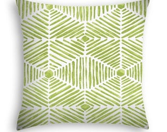 Grass green and white contemporary throw pillow suitable for outdoor or indoor use.