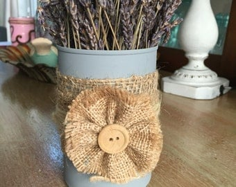 Tin can vase with dried lavender bundle set of two.