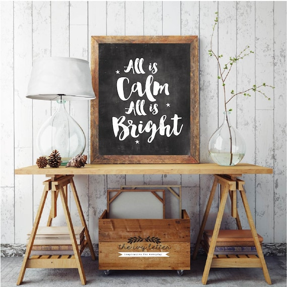 All Is Calm All Is Bright, Christmas Printable Quotes, Black and White Chalk Print, Blackboard Holiday Wall Art, Christmas Digital Download