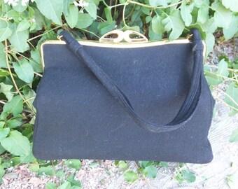 Vintage INGBER 50s/60s Wool Purse or Handbag, Black Wool Top Handle Handbag, Virgin Wool