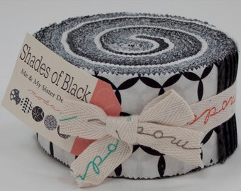 "Shades of Black Jelly Roll (40 ~ 2 1/2"" Strips) by Me & My Sister for Moda - 22145JR"