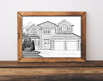 Pencil sketch architectural drawing of home - pencil drawing of your home, sketch of your house, hand drawn look, custom house sketch, home