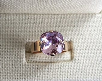 Swarovski Light Amethyst Ring, Light Amethyst Crystal Ring, Swarovski Amethyst Crystal Ring