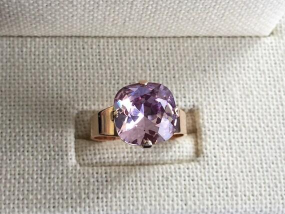 Swarovski Light Amethyst Ring, Light Amethyst Crystal Ring, Swarovski Amethyst Crystal Ring