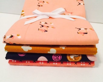 SALE!! Fat Quarter Bundle Penny Arcade with Clover for Cotton and Steel- 4 Fabrics
