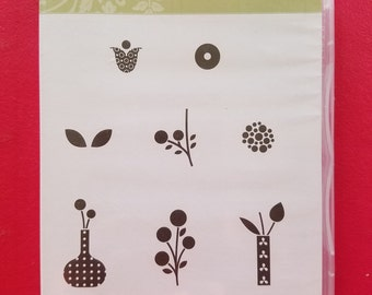 """Used Retired Stampin' Up Clear Mount Stamp Set """" Bright Blossoms"""""""