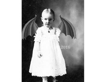 Bizarre Devil Girl Freak Creepy Vintage Costume Photo Victorian Vintage Altered Art Halloween Instant Download Ephemera Scrapbook
