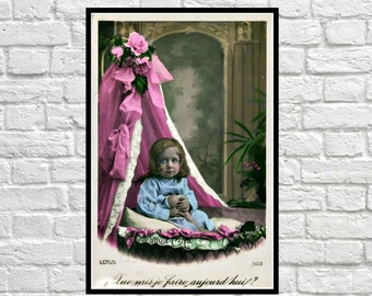 Baby Girl Edwardian Child Postcard Victorian  Printable Photo Child Instant Download Digital Collage Ephemera Edwardian Vintage Altered Art