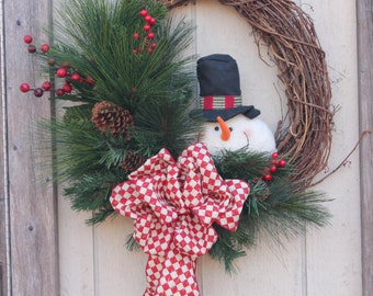 grapevine wreath with rustic snowman, Christmas bow, winter wreath, christmas wreath