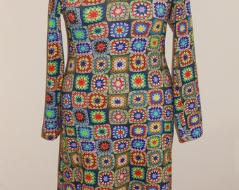 Crochet print tricot dress, colorful, size EU 38/40 (USA 8/10 - UK 10/12), cotton, tricot