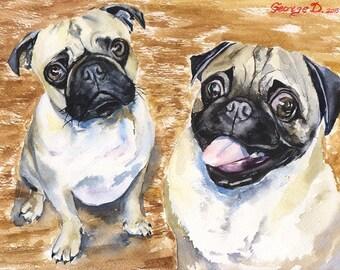 Funny Pug watercolor Print of the Original Watercolor Painting art cute Sweet Dog painting Decor Animal