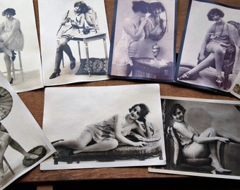 VIntage Woman Risque Photo Post Cards  Set of Eight