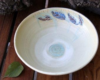 Salad bowl, large bowl, Serving bowl, leaves bowl, large bowl, soup bowl, cream bowl, cream pottery, painted bowl ,fruit bowl