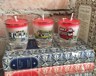 Set of 3 Shot Glasses feat. Vintage Coach/Bus Detail with Red/White Layered Recycled Wax Candles