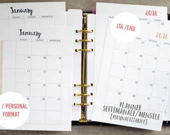 Weekly/monthly Planner for PRINTED agenda
