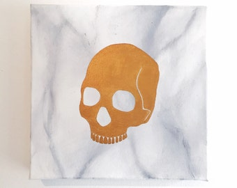 Gold Skull On Marble Painting