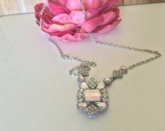 Handmade Necklace Created From Vintage Rhinestone Shoe Bling