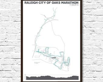 Raleigh Marathon Map, Marathon Gift, Marathon Map, Half Marathon, Running Gift, Raleigh NC, Marathon Runner