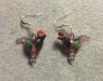Translucent lavender red crested lampwork songbird bead dangle earrings adorned with lavender Czech glass beads.