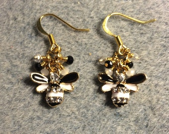 Black and white enamel and rhinestone honeybee charm earrings adorned with tiny black and white Chinese crystal beads.