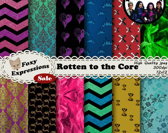 Rotten to the Core digital paper inspired by Disney Descendants. Designs include flames, thorn roses, plus Mal, Evie, Jay and Carlos symbols