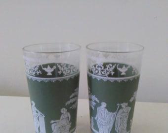 Green Jeanette Hellenic glasses-set of two