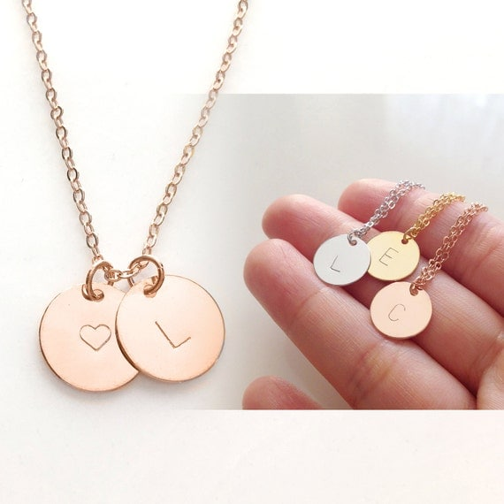 Rose gold initial necklace gold initial charm by for Rose gold personalized jewelry